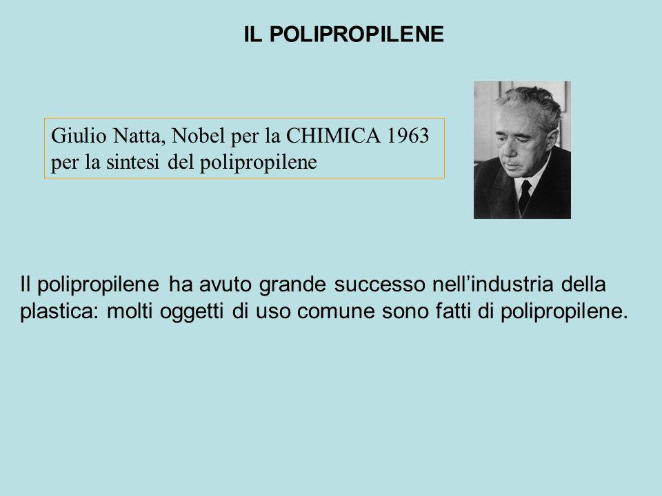 IL POLIPROPILENE Giulio Natta, Nobel per la CHIMICA 1963 per la sintesi del polipropilene Il polipropilene ha avuto grande successo nell'industria del