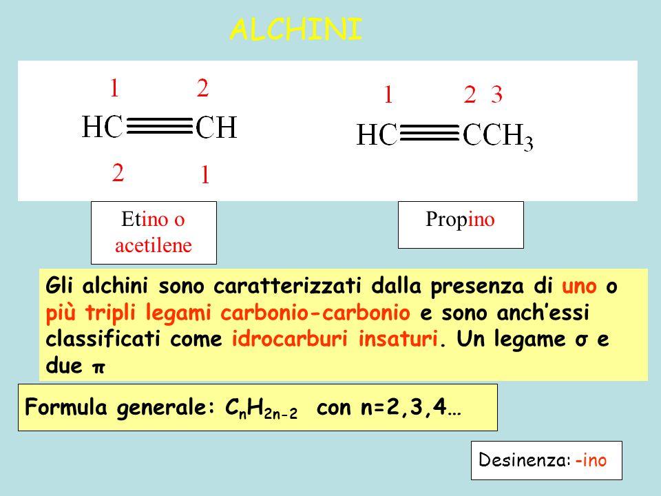 ALCHINI Gli alchini sono caratterizzati dalla presenza di uno o più tripli legami carbonio-carbonio e sono anch'essi classificati come idrocarburi ins