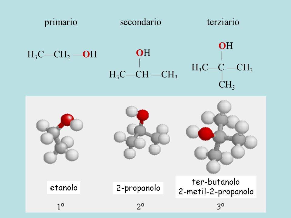 etanolo 2-propanolo ter-butanolo 2-metil-2-propanolo H 3 C—CH 2 —OH H 3 C—CH —CH 3 OH | H 3 C—C —CH 3 OH | CH 3 primariosecondarioterziario