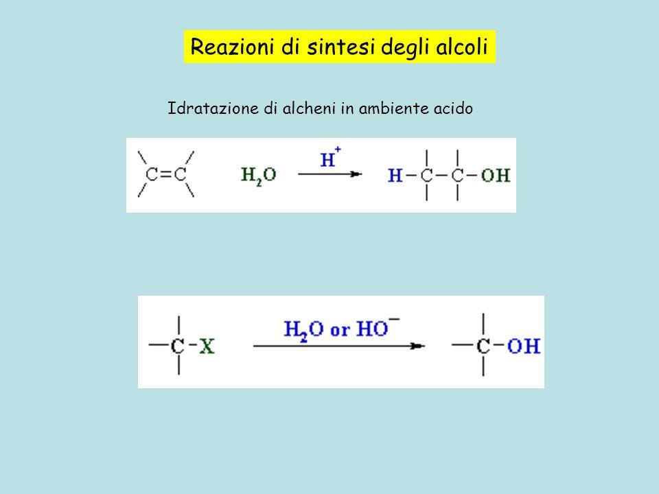 Reazioni di sintesi degli alcoli Idratazione di alcheni in ambiente acido
