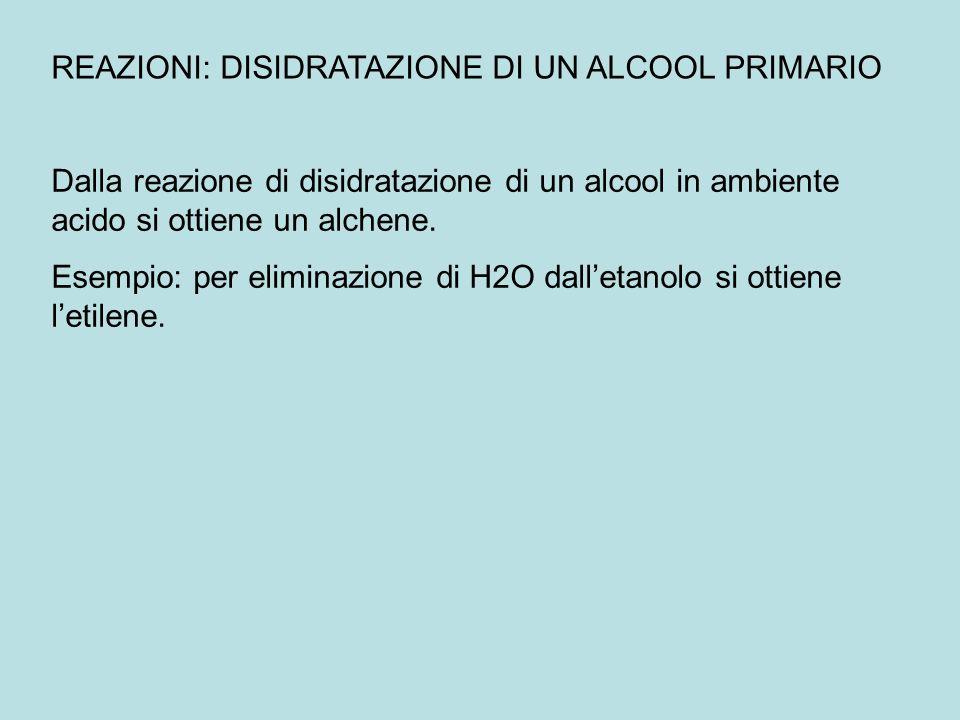 REAZIONI: DISIDRATAZIONE DI UN ALCOOL PRIMARIO Dalla reazione di disidratazione di un alcool in ambiente acido si ottiene un alchene. Esempio: per eli