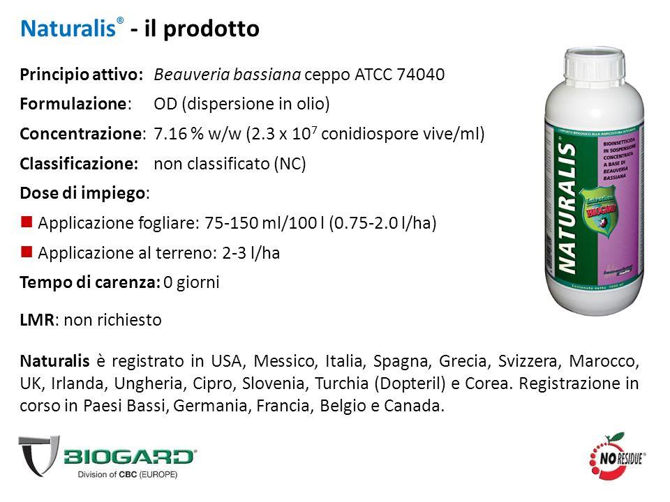 Naturalis ® - il prodotto Principio attivo:Beauveria bassiana ceppo ATCC 74040 Formulazione:OD (dispersione in olio) Concentrazione:7.16 % w/w (2.3 x