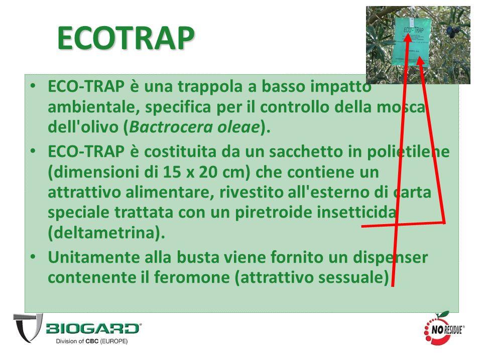 ECOTRAP ECO-TRAP è una trappola a basso impatto ambientale, specifica per il controllo della mosca dell'olivo (Bactrocera oleae). ECO-TRAP è costituit
