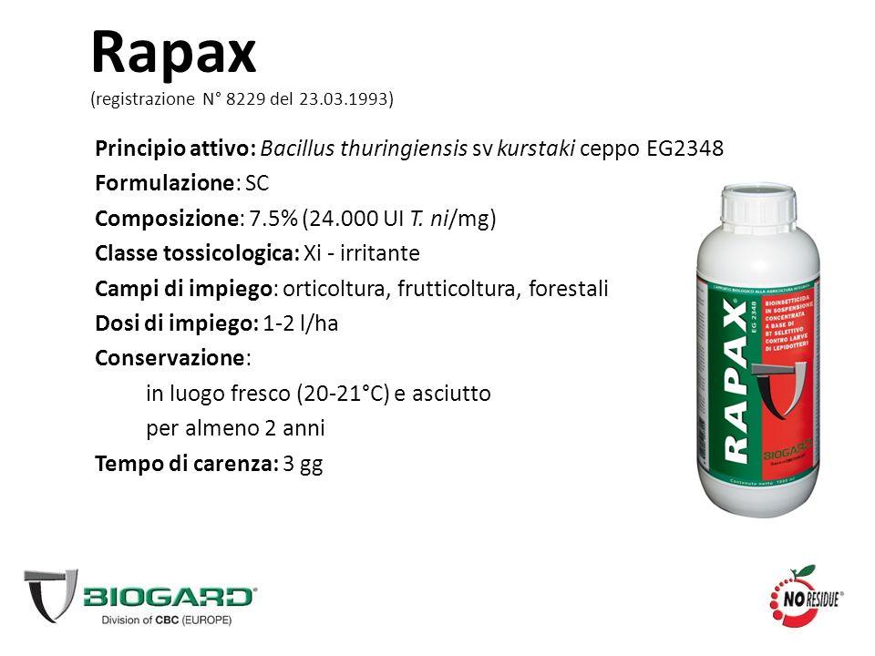 Rapax Principio attivo: Bacillus thuringiensis sv kurstaki ceppo EG2348 Formulazione: SC Composizione: 7.5% (24.000 UI T. ni/mg) Classe tossicologica:
