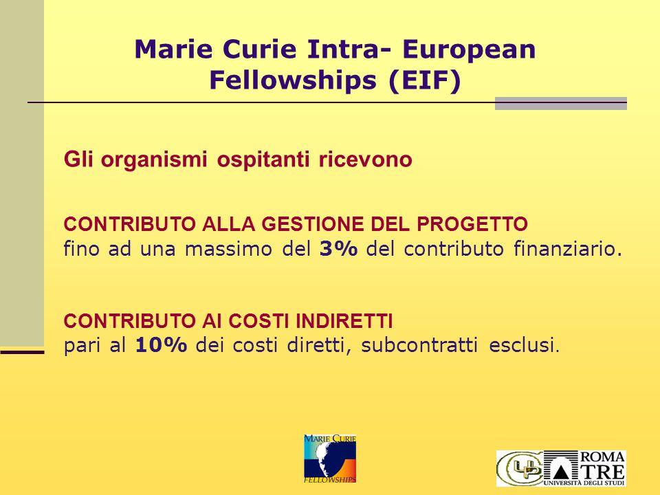 Marie Curie Intra- European Fellowships (EIF) Gli organismi ospitanti ricevono CONTRIBUTO ALLA GESTIONE DEL PROGETTO fino ad una massimo del 3% del contributo finanziario.