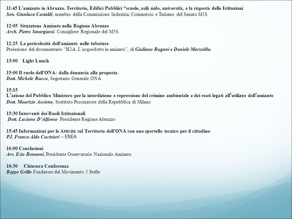 11:45 L'amianto in Abruzzo.