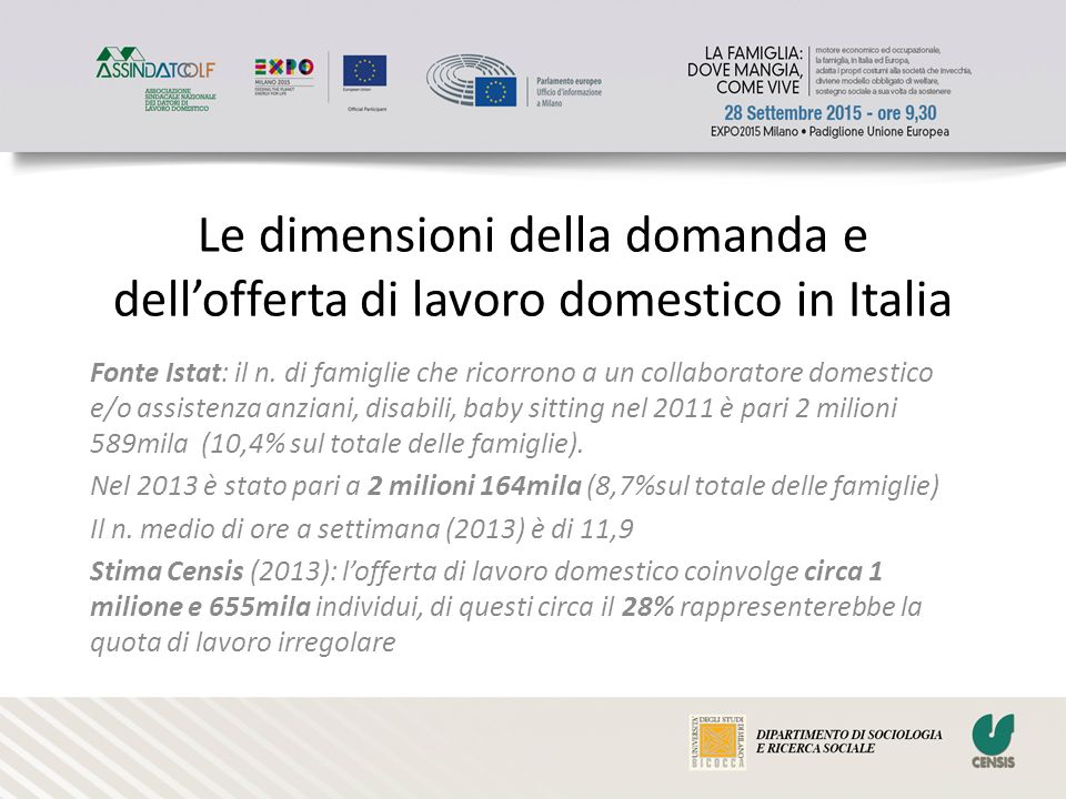Le dimensioni della domanda e dell'offerta di lavoro domestico in Italia Fonte Istat: il n.