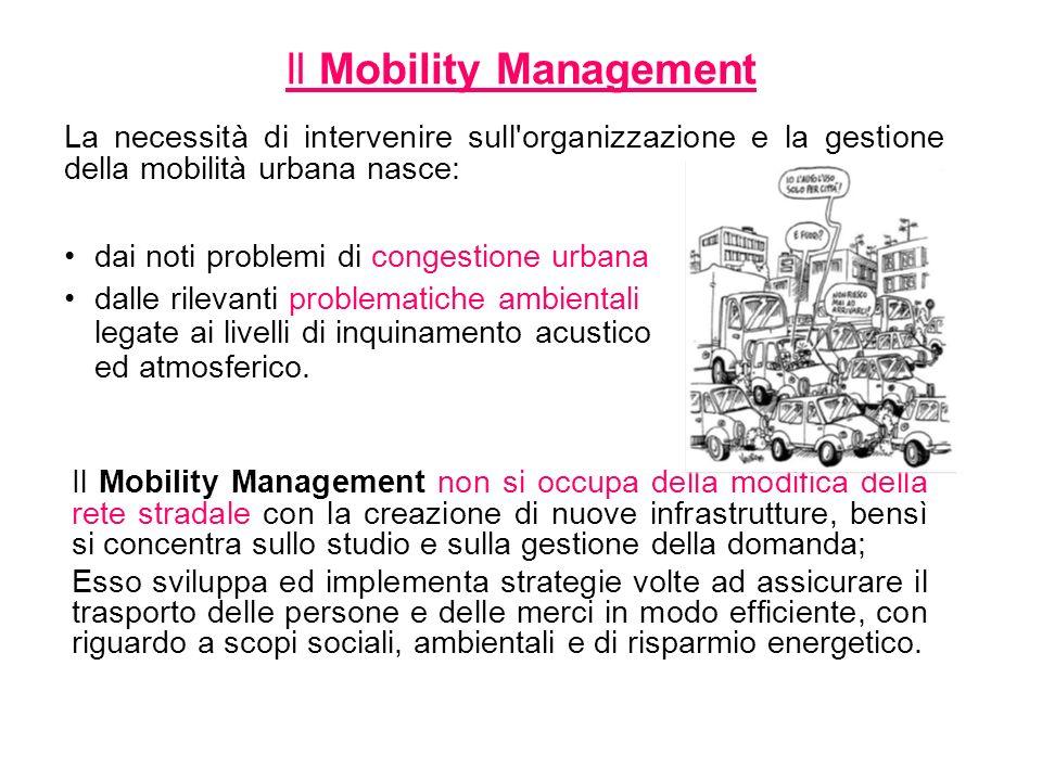 Il Mobility Management non si occupa della modifica della rete stradale con la creazione di nuove infrastrutture, bensì si concentra sullo studio e su