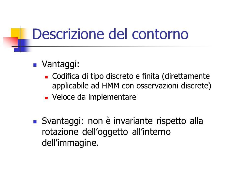 Descrizione del contorno Vantaggi: Codifica di tipo discreto e finita (direttamente applicabile ad HMM con osservazioni discrete) Veloce da implementare Svantaggi: non è invariante rispetto alla rotazione dell'oggetto all'interno dell'immagine.