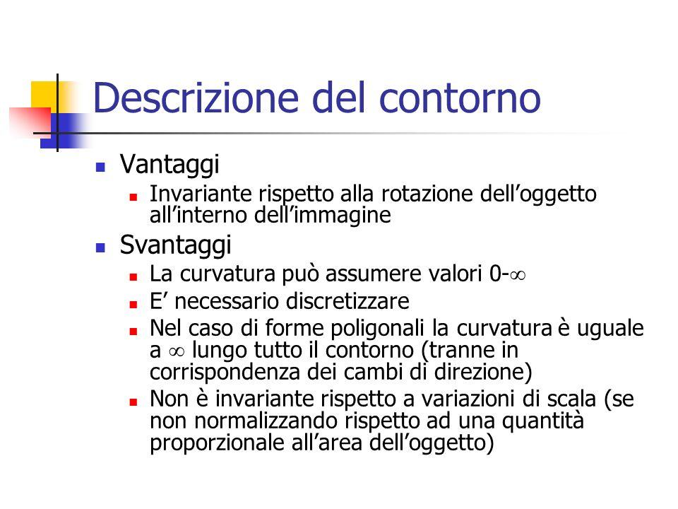 Descrizione del contorno Vantaggi Invariante rispetto alla rotazione dell'oggetto all'interno dell'immagine Svantaggi La curvatura può assumere valori