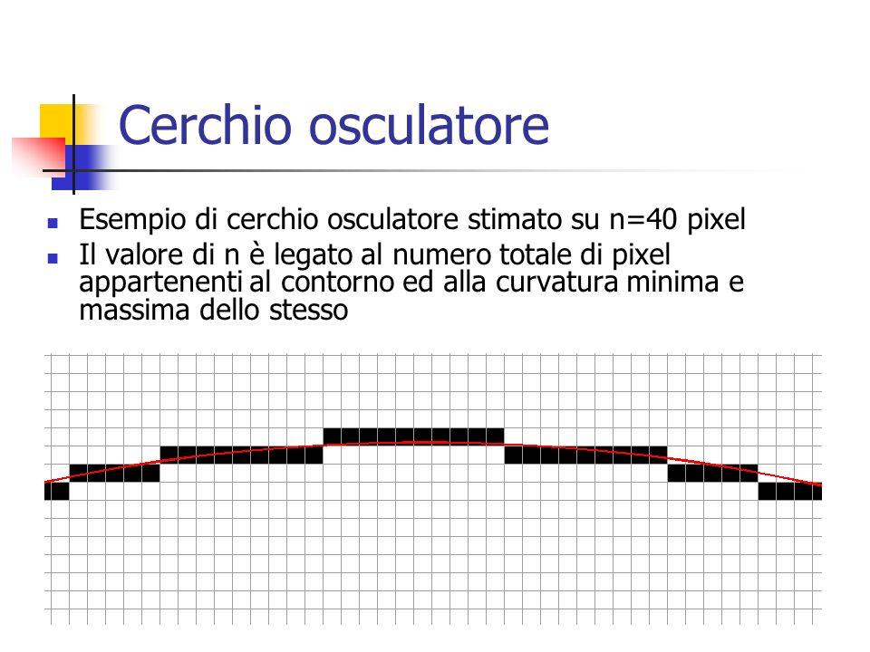 Cerchio osculatore Esempio di cerchio osculatore stimato su n=40 pixel Il valore di n è legato al numero totale di pixel appartenenti al contorno ed alla curvatura minima e massima dello stesso