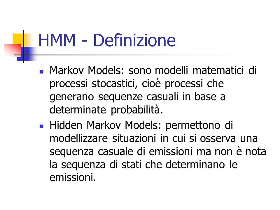 HMM - Definizione Markov Models: sono modelli matematici di processi stocastici, cioè processi che generano sequenze casuali in base a determinate pro