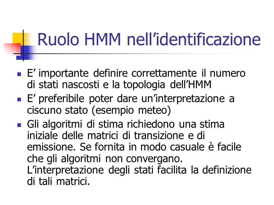 Ruolo HMM nell'identificazione E' importante definire correttamente il numero di stati nascosti e la topologia dell'HMM E' preferibile poter dare un'interpretazione a ciscuno stato (esempio meteo) Gli algoritmi di stima richiedono una stima iniziale delle matrici di transizione e di emissione.
