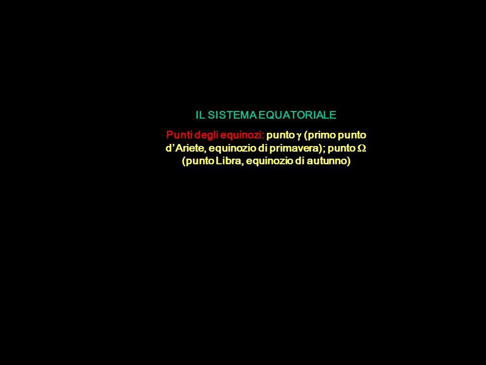 IL SISTEMA EQUATORIALE Punti degli equinozi: punto  (primo punto d'Ariete, equinozio di primavera); punto  (punto Libra, equinozio di autunno)