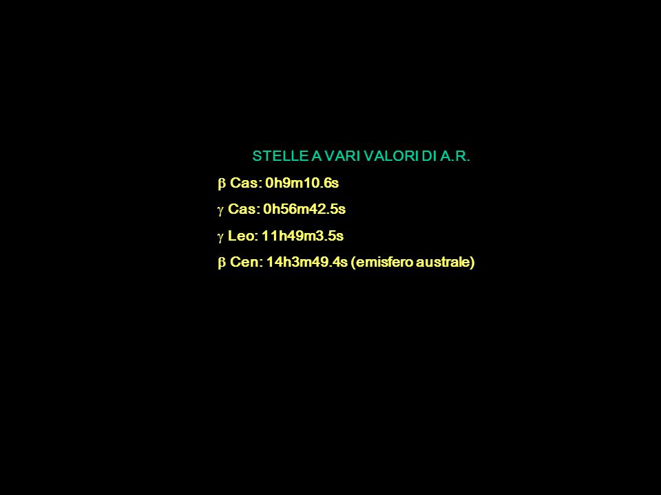 STELLE A VARI VALORI DI A.R.  Cas: 0h9m10.6s  Cas: 0h56m42.5s  Leo: 11h49m3.5s  Cen: 14h3m49.4s (emisfero australe)