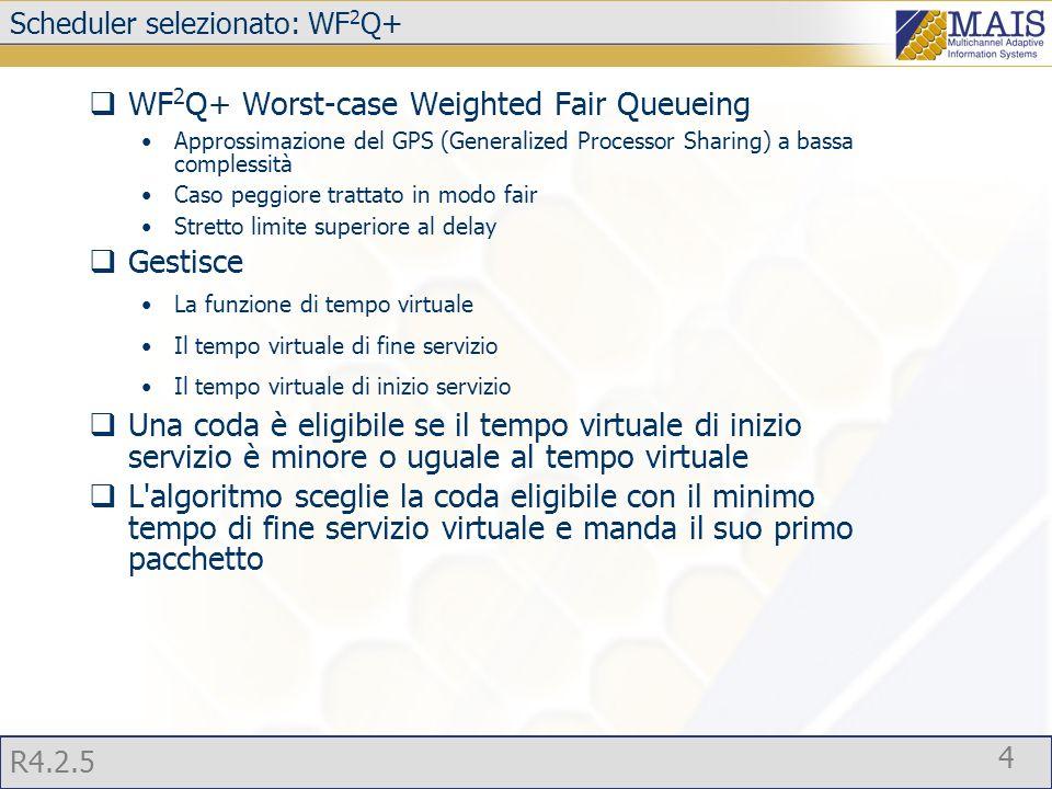 R4.2.5 4 Scheduler selezionato: WF 2 Q+  WF 2 Q+ Worst-case Weighted Fair Queueing Approssimazione del GPS (Generalized Processor Sharing) a bassa complessità Caso peggiore trattato in modo fair Stretto limite superiore al delay  Gestisce La funzione di tempo virtuale Il tempo virtuale di fine servizio Il tempo virtuale di inizio servizio  Una coda è eligibile se il tempo virtuale di inizio servizio è minore o uguale al tempo virtuale  L algoritmo sceglie la coda eligibile con il minimo tempo di fine servizio virtuale e manda il suo primo pacchetto