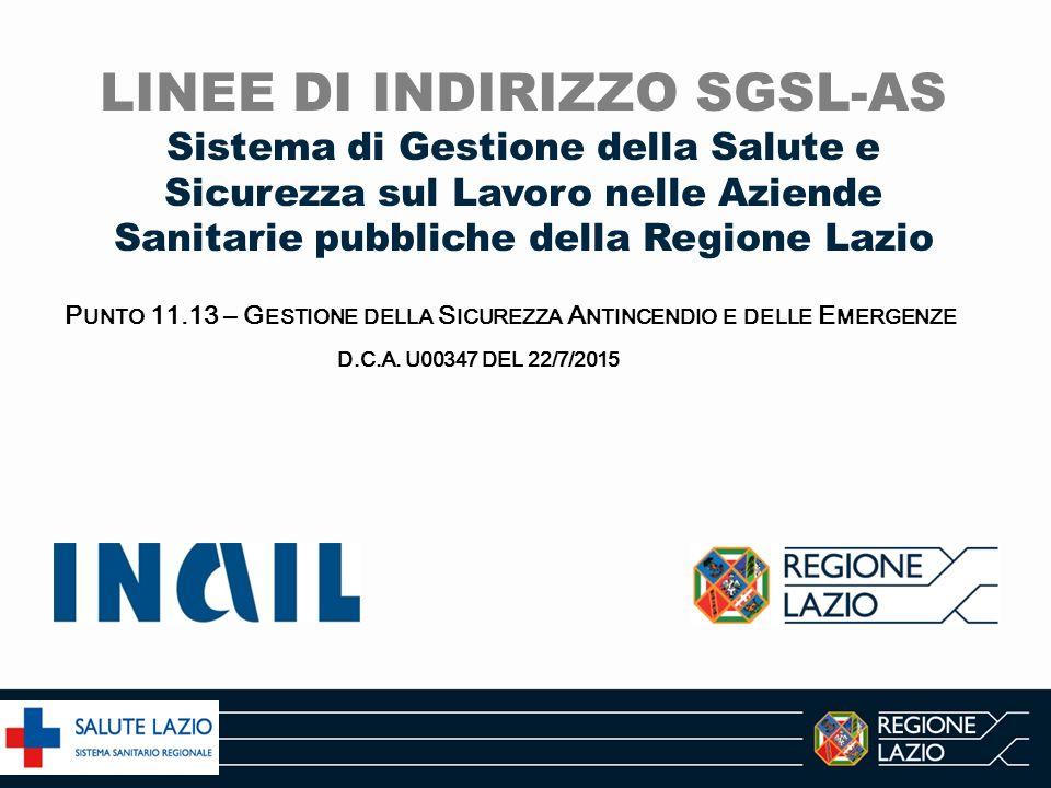 Il percorso SGSL-AS Linee guida Atti Aziendali Regione Lazio Atti Aziendali vigenti Ruoli Responsabilità Autorità SSL Atto di Autonomia Aziendale DCA U00259/14 Approvazione dell'Atto di Indirizzo per l'adozione dell'Atto di Autonomia Aziendale delle A.S.