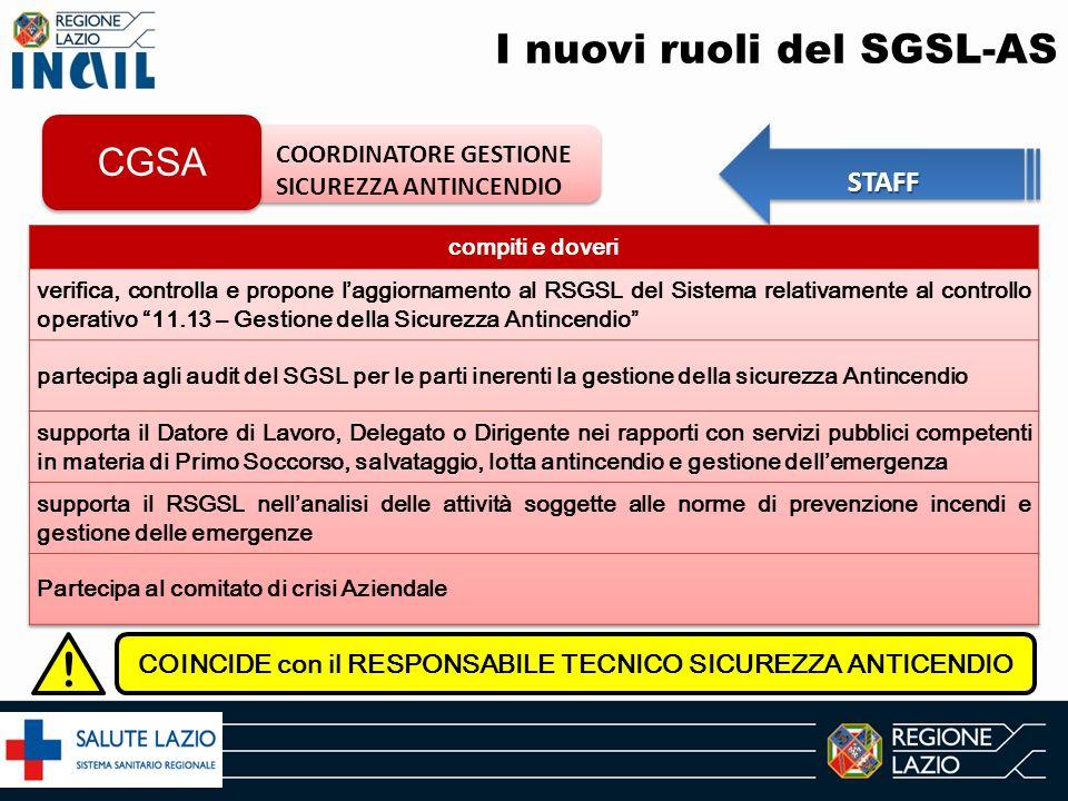 I nuovi ruoli del SGSL-AS COORDINATORE GESTIONE SICUREZZA ANTINCENDIO CGSA STAFF ! COINCIDE con il RESPONSABILE TECNICO SICUREZZA ANTICENDIO