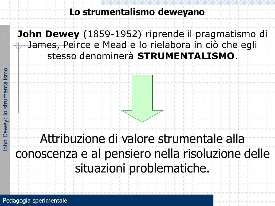 John Dewey: lo strumentalismo Lo strumentalismo deweyano John Dewey (1859-1952) riprende il pragmatismo di James, Peirce e Mead e lo rielabora in ciò