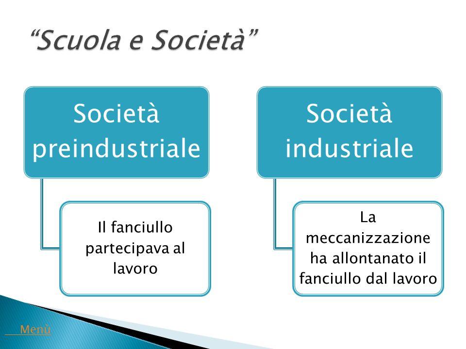 Società preindustriale Il fanciullo partecipava al lavoro Società industriale La meccanizzazione ha allontanato il fanciullo dal lavoro Menù