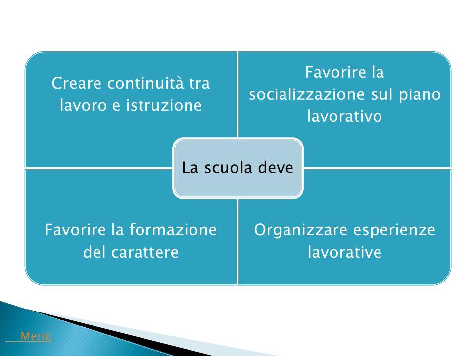 Creare continuità tra lavoro e istruzione Favorire la socializzazione sul piano lavorativo Favorire la formazione del carattere Organizzare esperienze