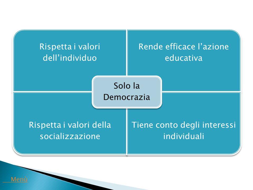 Rispetta i valori dell'individuo Rende efficace l'azione educativa Rispetta i valori della socializzazione Tiene conto degli interessi individuali Sol