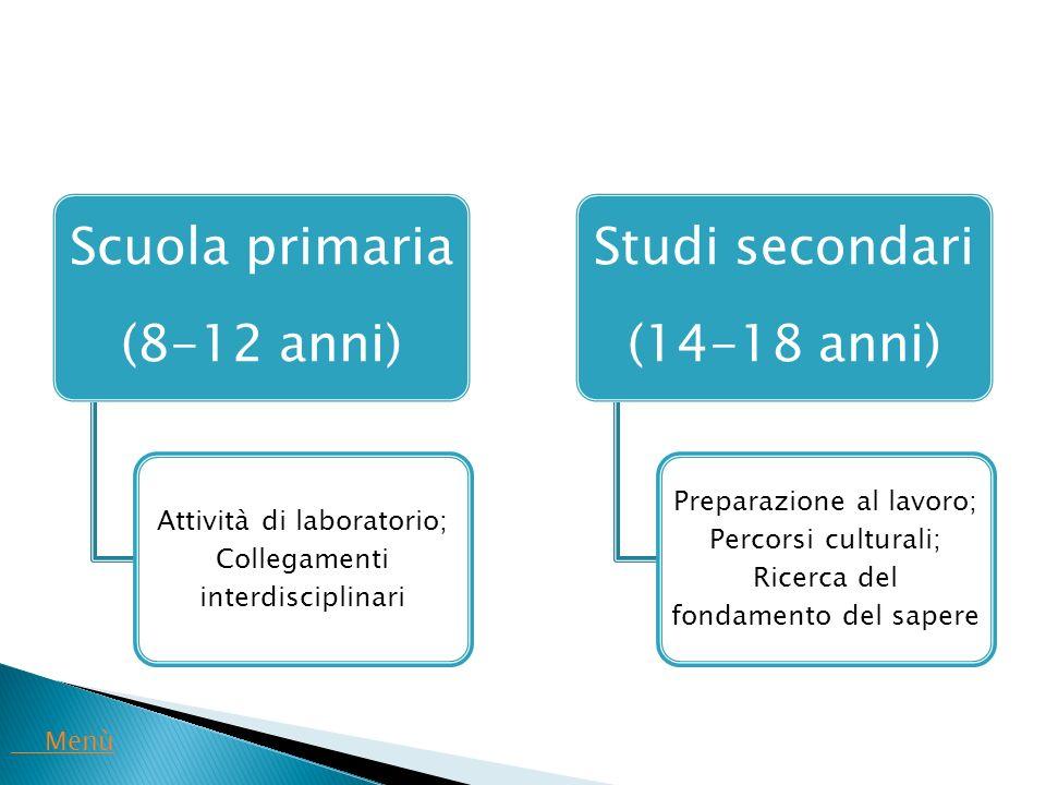 Scuola primaria (8-12 anni) Attività di laboratorio; Collegamenti interdisciplinari Studi secondari (14-18 anni) Preparazione al lavoro; Percorsi cult