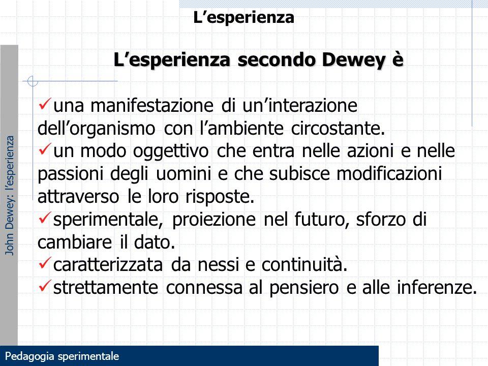 L'esperienza John Dewey: l'esperienza L'esperienza secondo Dewey è una manifestazione di un'interazione dell'organismo con l'ambiente circostante. un