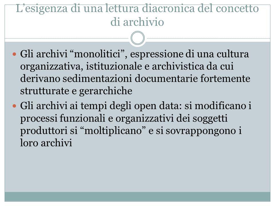 """L'esigenza di una lettura diacronica del concetto di archivio Gli archivi """"monolitici"""", espressione di una cultura organizzativa, istituzionale e arch"""