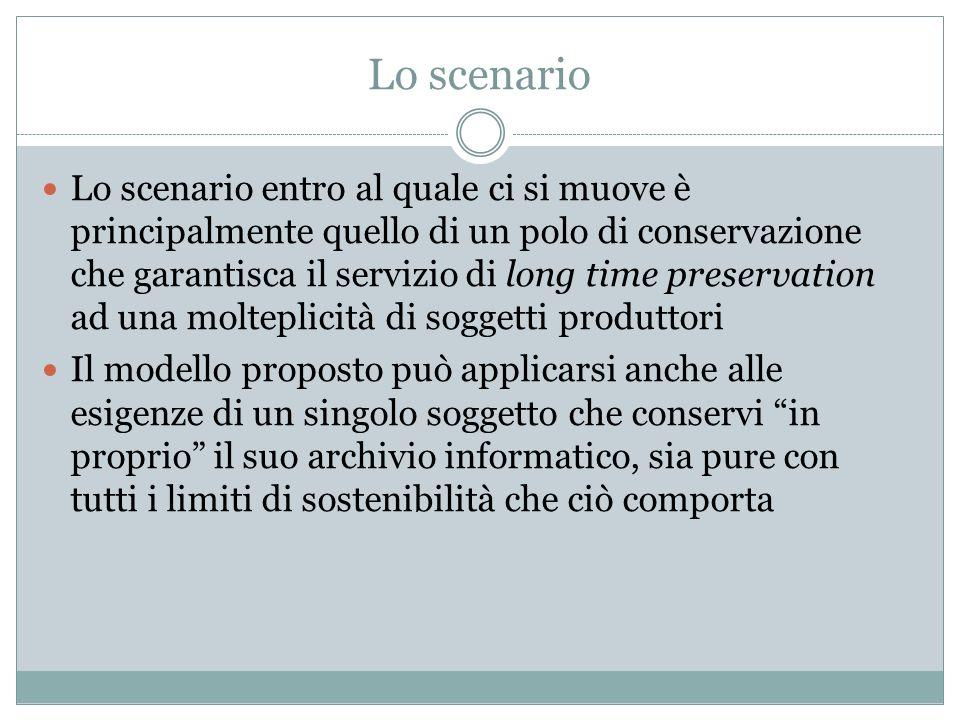 Lo scenario Lo scenario entro al quale ci si muove è principalmente quello di un polo di conservazione che garantisca il servizio di long time preserv