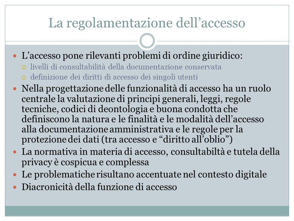 La regolamentazione dell'accesso L'accesso pone rilevanti problemi di ordine giuridico:  livelli di consultabilità della documentazione conservata 