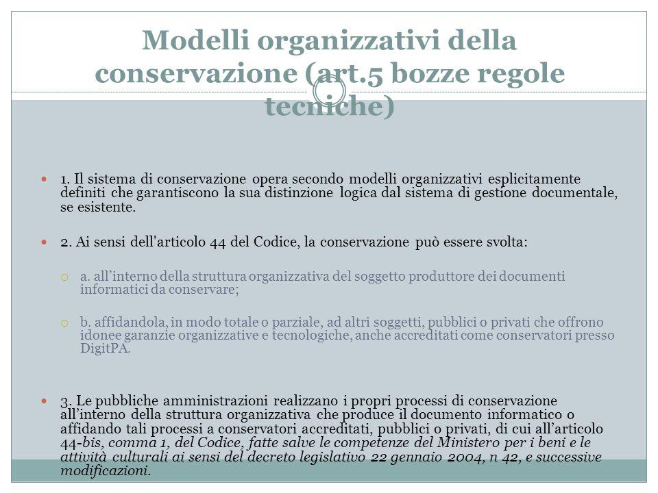 Modelli organizzativi della conservazione (art.5 bozze regole tecniche) 1. Il sistema di conservazione opera secondo modelli organizzativi esplicitame