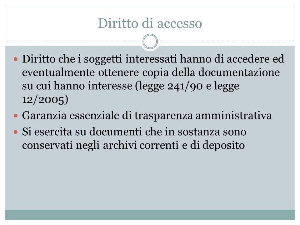 Diritto di accesso Diritto che i soggetti interessati hanno di accedere ed eventualmente ottenere copia della documentazione su cui hanno interesse (l