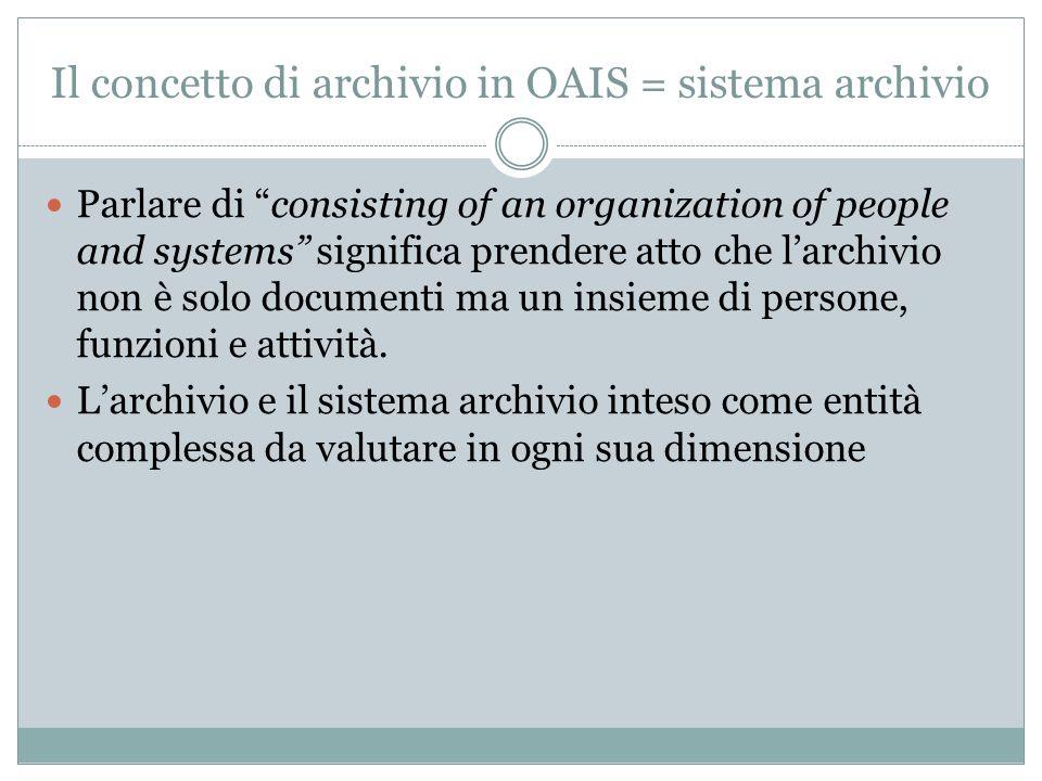 """Il concetto di archivio in OAIS = sistema archivio Parlare di """"consisting of an organization of people and systems"""" significa prendere atto che l'arch"""
