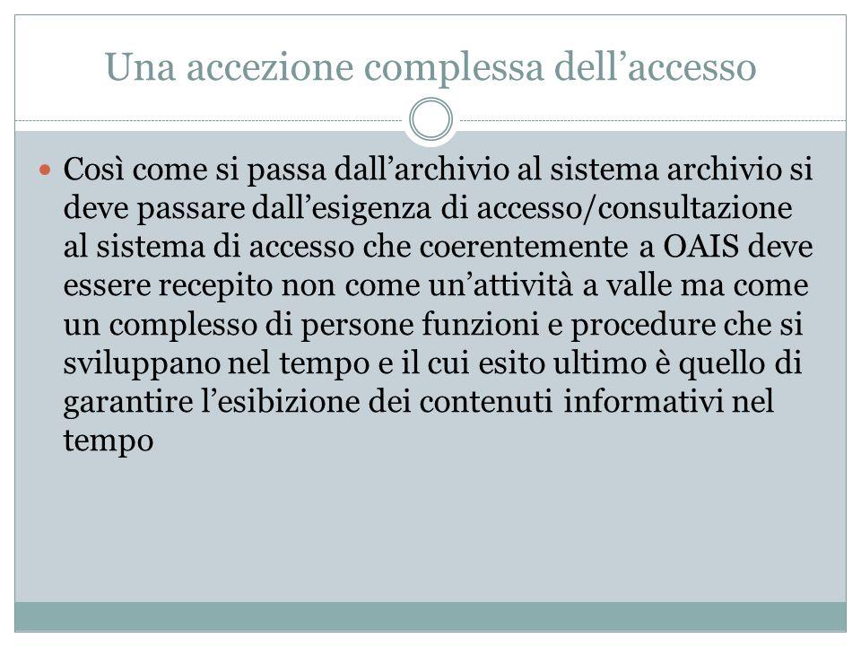 Una accezione complessa dell'accesso Così come si passa dall'archivio al sistema archivio si deve passare dall'esigenza di accesso/consultazione al si