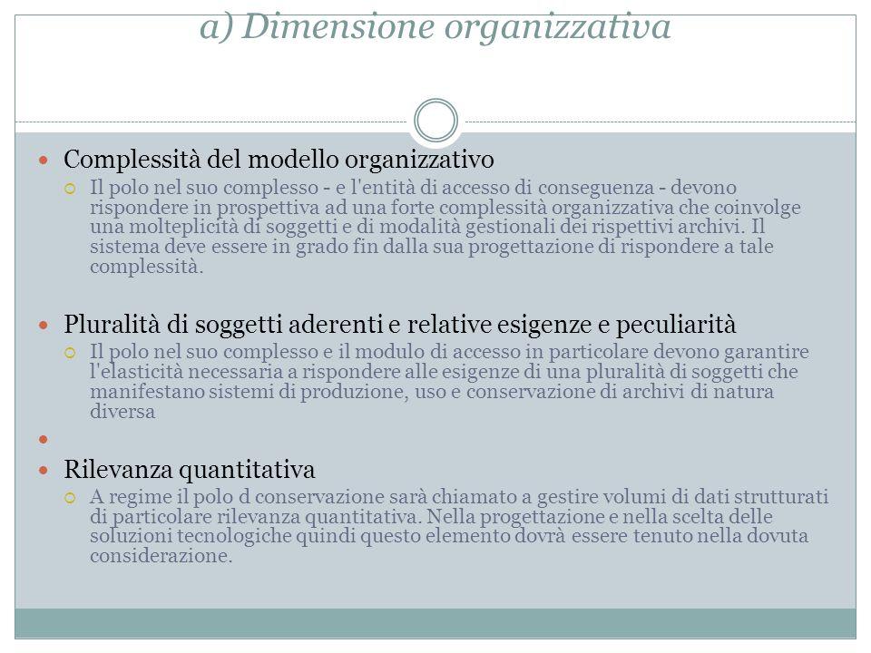 a) Dimensione organizzativa Complessità del modello organizzativo  Il polo nel suo complesso - e l'entità di accesso di conseguenza - devono risponde