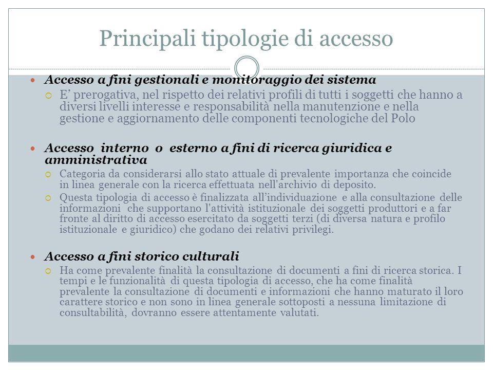 Principali tipologie di accesso Accesso a fini gestionali e monitoraggio dei sistema  E' prerogativa, nel rispetto dei relativi profili di tutti i so