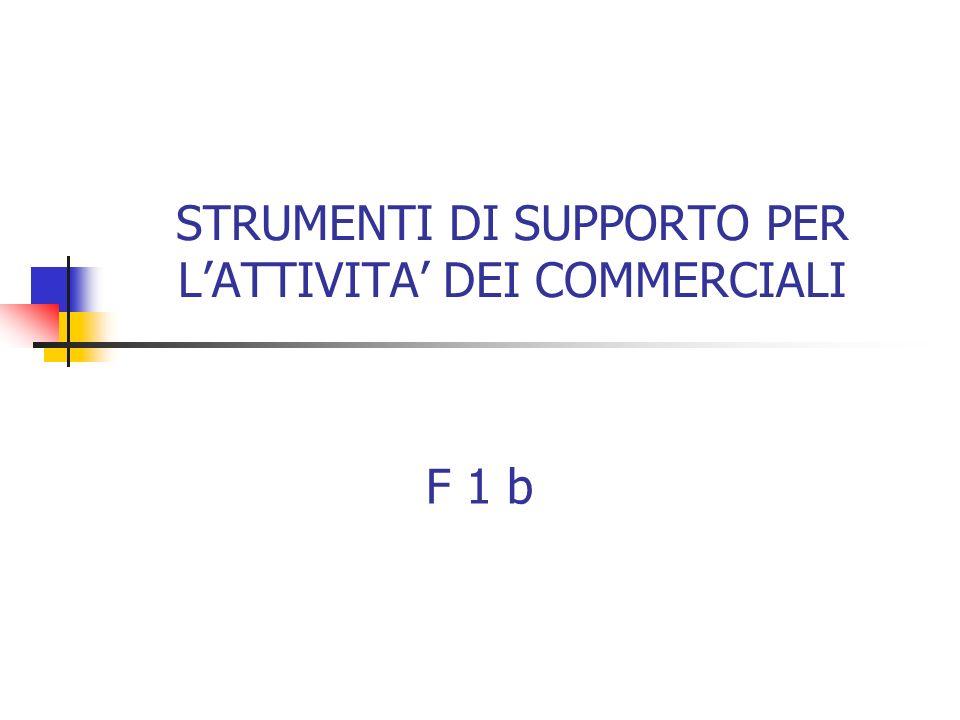 STRUMENTI DI SUPPORTO PER L'ATTIVITA' DEI COMMERCIALI F 1 b