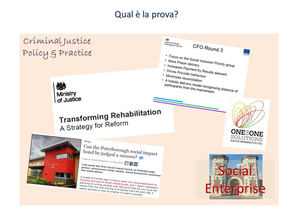 Criminal Justice Policy & Practice Qual è la prova? Social Enterprise