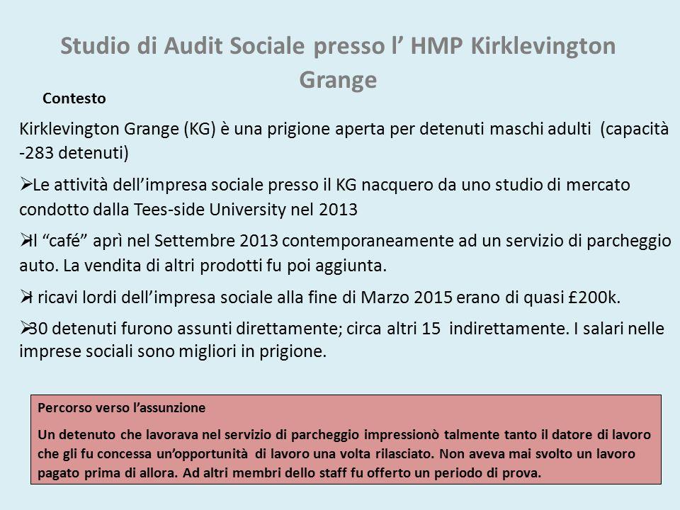 Studio di Audit Sociale presso l' HMP Kirklevington Grange Contesto Kirklevington Grange (KG) è una prigione aperta per detenuti maschi adulti (capaci