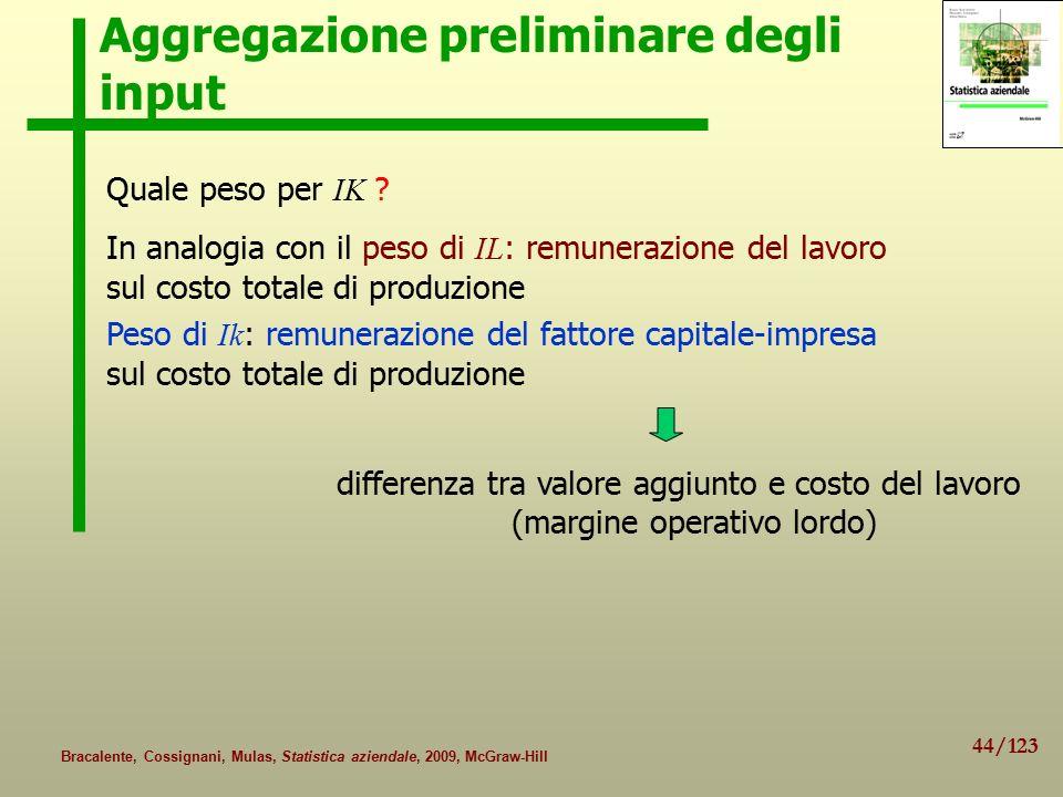 44/123 Bracalente, Cossignani, Mulas, Statistica aziendale, 2009, McGraw-Hill Aggregazione preliminare degli input Quale peso per IK .
