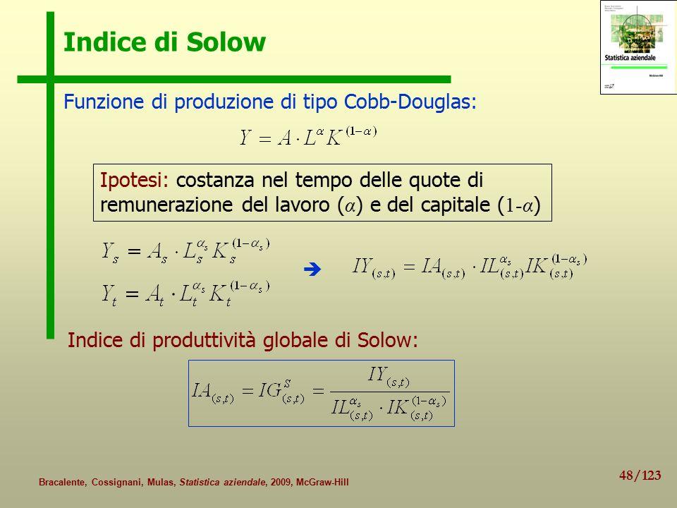 48/123 Bracalente, Cossignani, Mulas, Statistica aziendale, 2009, McGraw-Hill Indice di Solow Funzione di produzione di tipo Cobb-Douglas: Ipotesi: costanza nel tempo delle quote di remunerazione del lavoro ( α ) e del capitale ( 1-α )  Indice di produttività globale di Solow: