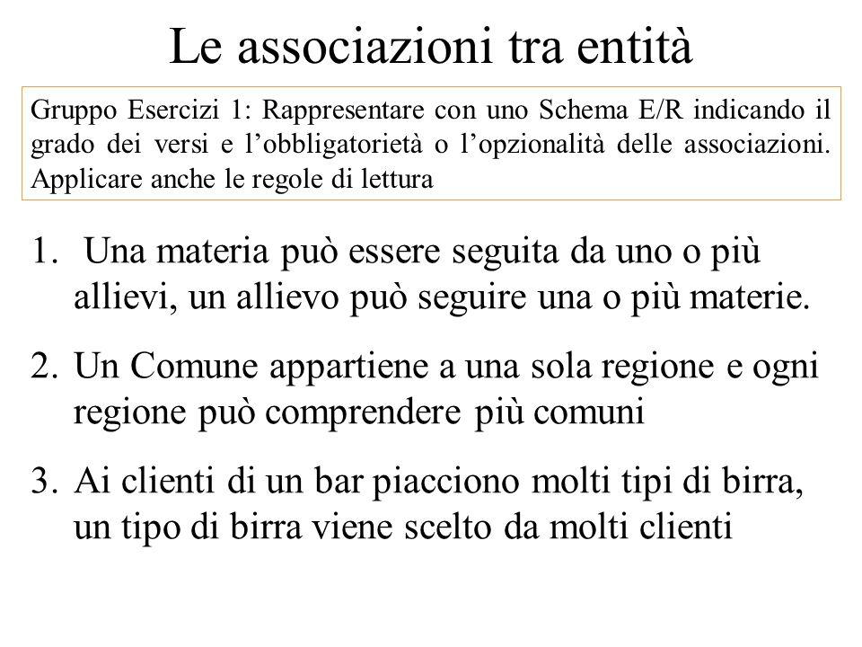 Gruppo Esercizi 1: Rappresentare con uno Schema E/R indicando il grado dei versi e l'obbligatorietà o l'opzionalità delle associazioni.