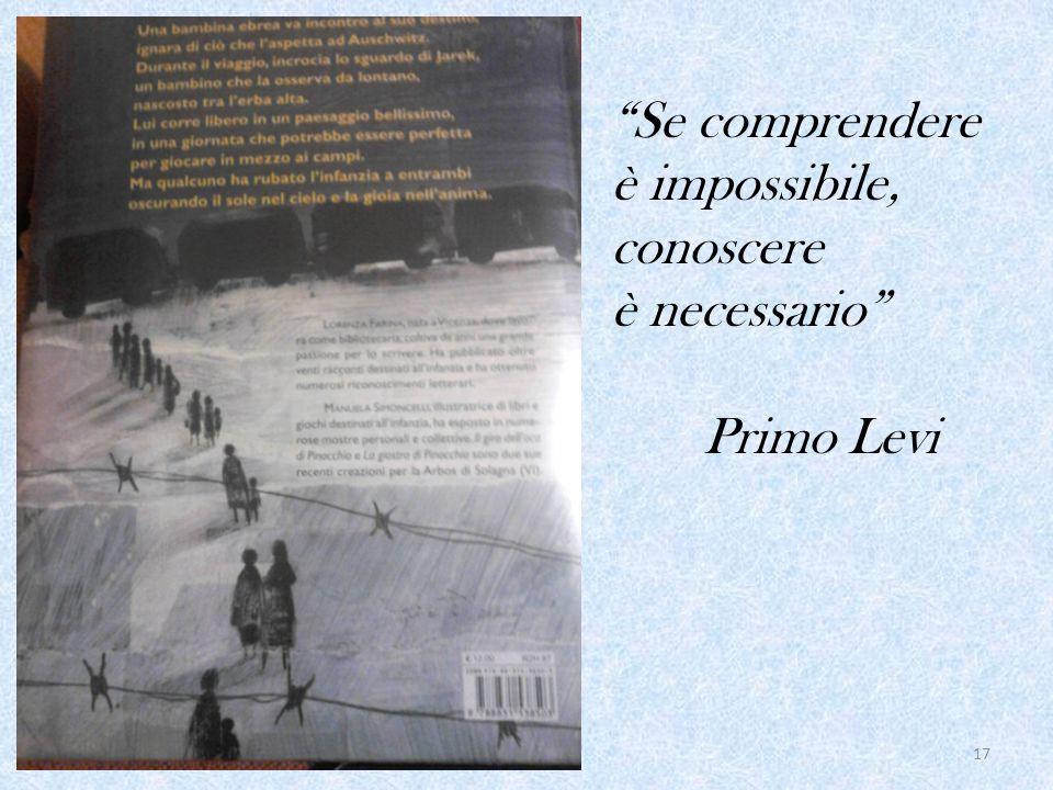 17 Se comprendere è impossibile, conoscere è necessario Primo Levi