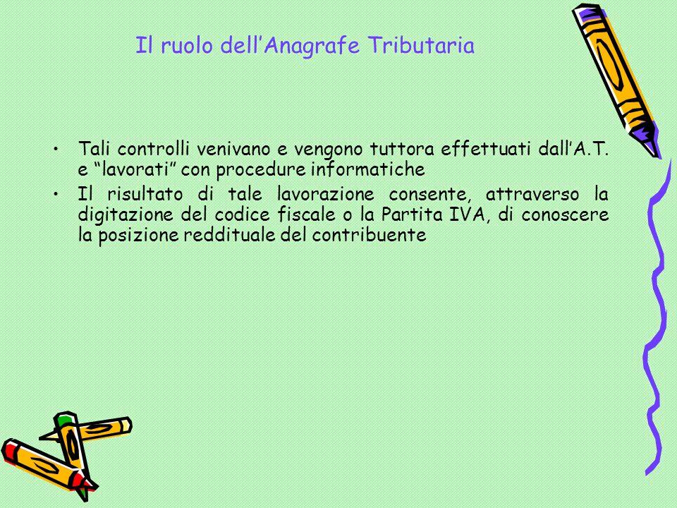 Il ruolo dell'Anagrafe Tributaria Tali controlli venivano e vengono tuttora effettuati dall'A.T.