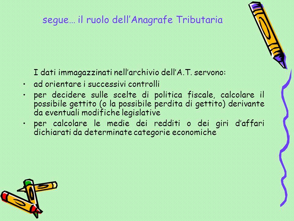 segue… il ruolo dell'Anagrafe Tributaria I dati immagazzinati nell'archivio dell'A.T.