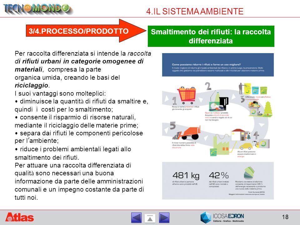 18 4.IL SISTEMA AMBIENTE 3/4.PROCESSO/PRODOTTO Smaltimento dei rifiuti: la raccolta differenziata Per raccolta differenziata si intende la raccolta di