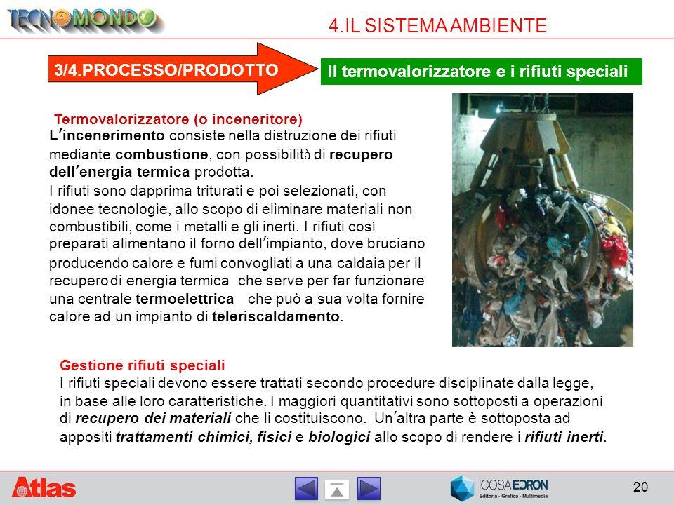20 4.IL SISTEMA AMBIENTE 3/4.PROCESSO/PRODOTTO Il termovalorizzatore e i rifiuti speciali Termovalorizzatore (o inceneritore) L ' incenerimento consis