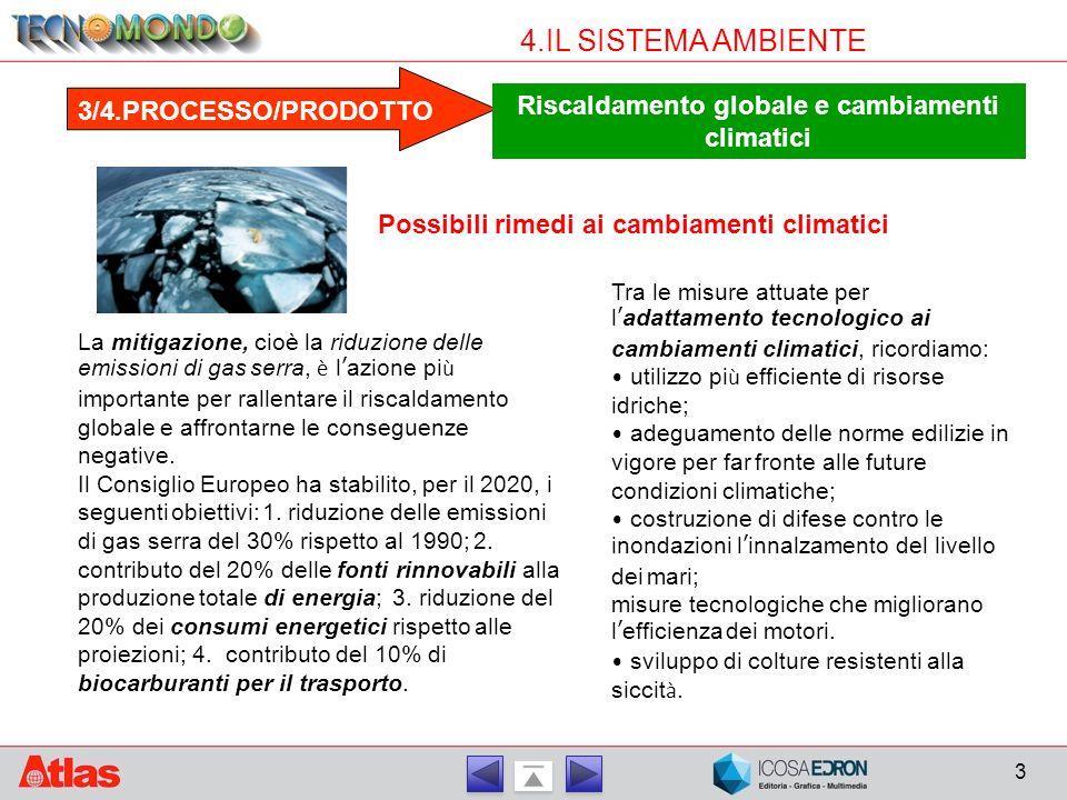 3 4.IL SISTEMA AMBIENTE 3/4.PROCESSO/PRODOTTO Riscaldamento globale e cambiamenti climatici La mitigazione, cioè la riduzione delle emissioni di gas s