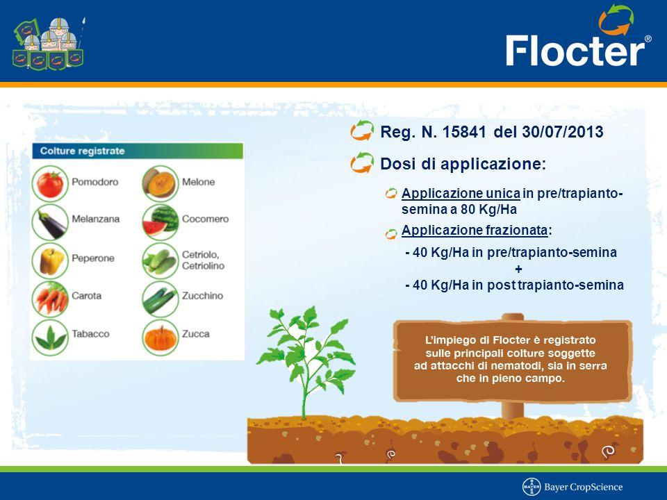 Reg. N. 15841 del 30/07/2013 Dosi di applicazione: Applicazione unica in pre/trapianto- semina a 80 Kg/Ha Applicazione frazionata: - 40 Kg/Ha in pre/t